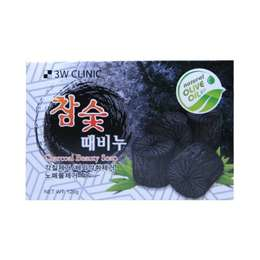 Мыло кусковое Уголь 3W CLINIC Charcoal Beauty Soap 120 гр